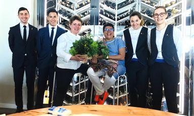 Lots of news fromAlice,Viviana Varese's restaurant insideEataly Smeraldoin Milan. Left to right,Gianluca De MarcoandLuis Diaz, the two new maîtres, then the chef withRitu Dalmia, the Indian restaurant-woman who bought 20% ofVarese's business. Finally, the two sommeliers,Federica RadiceandJessica Rocchi
