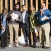 Premio Birra in Cucina: Davide Del Duca, Osteria Fernanda, Roma, premiato da Ilaria Zaminga, comunicazione di Heineken Italia, e Marco Cristofoletto, brand manager di Birra Moretti
