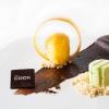 Mousse al cioccolato fondente con sorbetto al frutto della passione e semifreddo al pistacchio