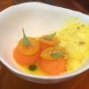 Ceviche de melón cantaloup. Cantaloupe melon ceviche with lime juice, coriander and kumquat leche de tigre. Served with kumquat, coriander oil and kumquat snow. Very citrusy