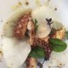 Matteo Salbaroli,Osteria L'Acciuga,Ravenna  Polpo arrostito, crema di topinambur e nocciole tostate. L'ho proposto al cenone e ha avuto così successo che lo riproponiamo anche l'inverno.Non solo polipo e patate