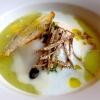 Zuppa con uova delle nostre galline, crema di patate, cipolle e tartufo scorzone di Nurallao