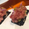 Milhojas de atún. Potato and nori mille-fuille, topped with a slightly spicy tuna tartare and avocado cream