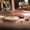 Squilla mantis, its crispy legs, cream of potato and lemon, crustacean bisque, cream of Palazzetto saffron