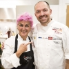 The protagonists of the last lesson in Chicago: Cristina Bowerman of Glass Hostaria in Rome and Giuseppe Tentori, GT Fish and Oyster in Chicago