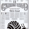 The Slow-food manifesto, published on the 3rd November 1987 in Gambero Rosso, with a snail designed by Gianni Sassi