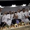 Sul palco di Identità Milano 2011 Paolo Marchi, con i Cavalieri e il loro mosaico di creazioni in onore della Cucina Italiana