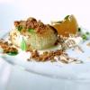 Cipolla, crème fraîche, ristretto di pollo, crusca, pepe arancio(ossiafoglie diZanthoxylum beecheyanum). Gran piatto