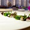 Solo d'alghe,la mia insalata di mare: piatto indimenticabile, «non ci sono cozze, seppie né rucola», bensì sette tipi d'alga e quattro piante alofite, poi panna cotta salata al bergamotto, maionese d'agrumi, yogurt al pompelmo... Quindi acqua di mare, si degusta con un vermuth agricolo Santon aromatizzato al santonego, ossia l'artemisia di Grado. Eccelso, il piatto compie un anno di vita, «ne dedichiamo ogni anno uno al mare»