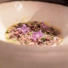 Cereals cooked as with risotto:Cream of pumpkin, toasted sunflower seeds and sunflowers