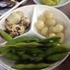 Uova di quaglia bollite, aglio e edamame