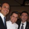 Felice Sgarra, chef del ristorante Umami, tra il sindaco di Andria Nicola Giorgino e l'assessore al marketing territoriale Benedetto Miscioscia