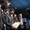 Luca Pardini, Edoardo Grassi e Marco Civitelli, tris d'assi al Ceresio 7 di Milano, chef Elio Sironi. Con loro, Federico De Cesare Viola e Paolo Marchi