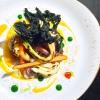 Alessandro Intini,Nidaba, Montebelluna (Treviso)  Verdure alla griglia, purea di zucca e miso, gel al sakè, cavolo nero, spinacio fritto - Non c'è niente di più semplice del nutrirsi della terra, non c'è niente di più difficile del nutrirsi di essa