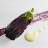 """Il primo piatto che vi abbiamo presentato, Tomates en salsa, è già una sintesi efficace dello stile di Alija. Così come quest'altro in foto: Hebras de berenjena asada, """"makil goxo"""" y yogur de aceite de olivos milenarios, ormai un suo classico. Traduzione: fibre di melanzana, arrostite, vengono ricomposte in una superficie viola e luminosa, con liquirizia (""""makil goxo"""") e accompagnate da yogurt d'olio d'oliva proveniente da olivi millenari (l'oliva è della varietà Farga). Combinazione indimenticabile, totale rispetto dei sapori, equilibrio perfetto: c'è tutto Alija, nei suoi princìpi di fondo. Che sono: innanzi tutto il minimalismo, l'essenzialità, pochi abbinamenti per avere esiti insieme netti e sfumati, d'inarrivabile eleganza; poi la naturaleza (con una """"z"""" sola, alla spagnola), la passione per le verdure, il lavoro anche sul singolo prodotto vegetale che assume però aspetti visivi-tattili-gustativi diversi in funzione degli svariati trattamenti tecnici cui Alija lo sottopone, padroneggiandoli perfettamente. Siamo di fronte a uno chef che plasma la natura, sorta di demiurgo contemporaneo. Pochissimi (Dacosta, i Roca, per rimanere in Spagna...) ci hanno regalato in questi ultimi tempi simili sensazioni."""