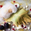 Soft, light, craveable Baco da seta: puff pastry with custard, blackberries, herb sauces, shortbread and candy floss