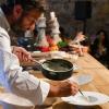 """Carlo Cracco,Cracco, Milano (trasloco a breve, in galleria Vittorio Emanuele II). Ha proposto un classico della sua cucina, l'""""Uovo affumicato"""". Cooking show sold out e tutti in fila allo stand per non lasciarsi sfuggire l'occasione di vederlo all'opera"""