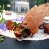 Appetizer di chanterelle (saporiti come i nostri finferli) e germogli dell'orto