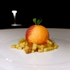Cheesecake d'estate con crescenza, marmellata di pesche del Friuli (la prepara la mamma dello chef), fiori di lavanda, crumble di nocciole