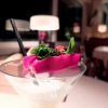 Moscow Mule with salmon marinated in beetroot, smoked potato and caviar