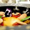 Zucca e cozze: zuppetta di zucca e cozze, pomodorini confit, crostini secchi di pane con extravergine e aceto balsamico