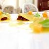 """Ravioli aperti di rapa rossa brasata, besciamella leggera alla lavanda, carote allo zafferano """"selezione Croco & Smilace"""""""