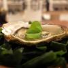 Grande cena da Cristiano Tomei, fotogallery di Tanio Liotta. Si inizia con un'ostrica di La Spezia su letto di alga wakame scaldata dalla cenere («Mi ricorda il profumo della mia terra»), maionese, extravergine e acetosella