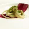 Il Valentino Felicetti, burro di malga, taleggio di capra, polvere di rapa rossa e di betulla. Altro piatto storico e delizioso