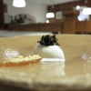 Border-line (a dessert made with resin, ice cream, brittle, cream): resin ice cream, gel of Jerusalem artichoke, white dried and candied lichen, «I got the inspiration from the days when I'd go collecting resin with my grandfather»