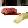Piccione dell'azienda agricola Moncucco: il petto con saba, lattuga bruciata, fiori e salsadi sambuco, polvere e radice di polipodio, una sorta di felce con sentori di liquirizia