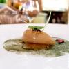 Bavarese di foie gras, gel di miso, liquirizia, peperoncino, cipollotto, alghe.Grande equilibrio in un piatto davvero raffinato, elegante, aromatico