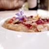 Risotto, ajoblanco, chutney di peperoni, colatura di alici, alici del Cantabrico.Golositàpura, seconda parte