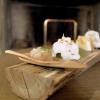 Altri stuzzichi: Tartare di scampi e passion fruit, Wafer di parmigiano con baccalà mantecato, Chips di tapioca e polvere di paprika