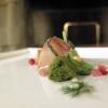 Ricciola, melagrana, mozzarella di bufala e basilico