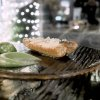 Anguilla dell'Iseo ai carboni, cetriolo, mela verde e cerfoglio: delizioso. L'anguilla è del pescatore Nando Soardi, che fornisce anche il lavarello