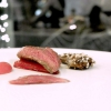 A fantasticPigeon in ashes, rhubarb and Timut pepper. The filet is a treat, the leg is wrapped in quinoa, the breast is memorable in texture, juiciness and taste, «I cook the pigeon – from Moncucco– in a piece, for 23 minutes at 190°C. I put it in a soapstone pot on top of oak ashes, after covering it in lard and aromatic herbs. The stone absorbs the smoke and gently releases it inside». Paired with:Solesine Rosso Bellavista 2006, a Bordeaux blend no longer produced