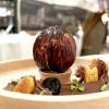 Lo schiaccianoci: the shells are made with white and dark chocolate filled with hazelnut toffee and nocino parfait. The cream of dark chocolate is aromatised with Lapsang Souchong tea, pears marinated in lemon and juniper, barberries, confit walnuts, lovage, almond frangipane, walnut gianduia