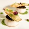 Capesante scottate con crema d'aglio dolce, crosta di alghe e fiori di zucca in tempura