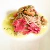 Spaghetto integrale di grani primitivi siciliani all'aglio, olio e peperoncino con cappelunghe, cozze e vongole