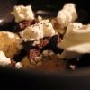 Zuppa di Voghera: una interpretazione di un dolce tipico della pasticceria Vellini di Voghera (fatto con pan di Spagna, cioccolato...una sorta di tiramisù, con crema agli agrumi). Qui crumble di caramello salato, crema pasticcera agli agrumi, gel al cardamomo, granita di caffè, panna ghiacciata. Sarebbe solo goloso, se il cardamomo non gli conferisse quella nota in più