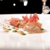 Crudo di gambero rosso di Sicilia, carta di crostacei, salsa romesco