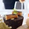 Un pranzo di gran livello da Alessandro Mecca, nelle foto di Tanio Liotta. S'inizia con il Cannolo di pasta fillo e insalatina di granseola