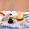 Calamaro scottato, ovuli reali, oliva cellina e mustardela, che dona quel tocco in più