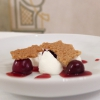 Yogurt, cherries, cherry extract and barolo chinato, walnut brittle