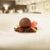 Buona anche laSfera di cioccolato, crema di mirtilli, crumble al cacao salato
