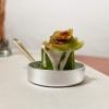 Rotolo di zucchina con patate della Sila, tuorlo d'uovo, salsa di senape grezza, crema di erborinato all'acciuga e fiore di zucca