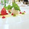 Sogliola, pomodoro e rucola (il pomodoro è in molte consistenze: come maionese, come composta, poi crudo e confit)
