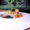 Sgombro marinato agli agrumi, laccato con miele e aceto, spuma di pinoli e verdure fresche di campo. Alta classe