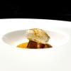 Un pre-dessert silvestre: Champignon, ossia passatina di caco, semifreddo di cioccolato,gelato al tartufo, spuma di alloro e polvere di champignon