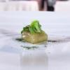 Agastache ravioli, scampi tartare, green shiso granita